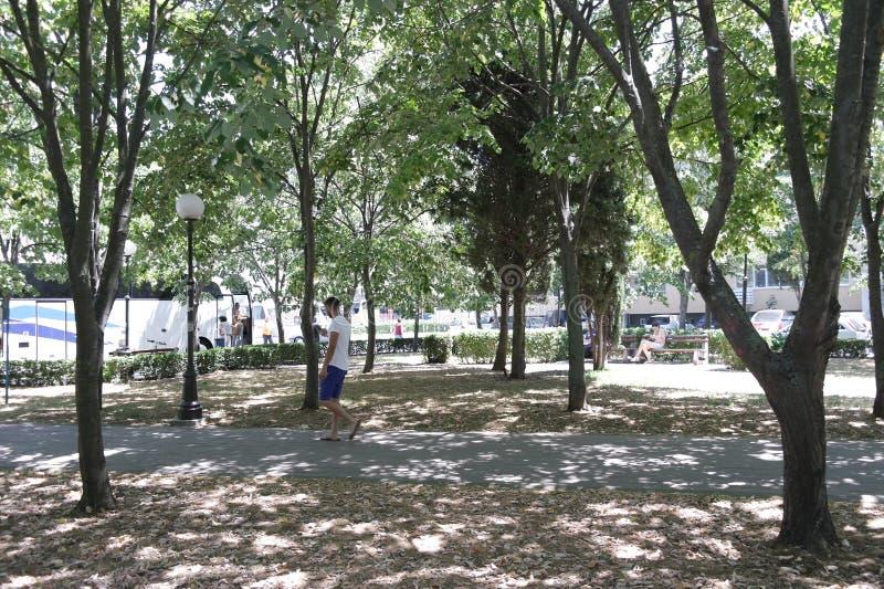 Park in de stad van Pomorie, Bulgarije royalty-vrije stock foto's