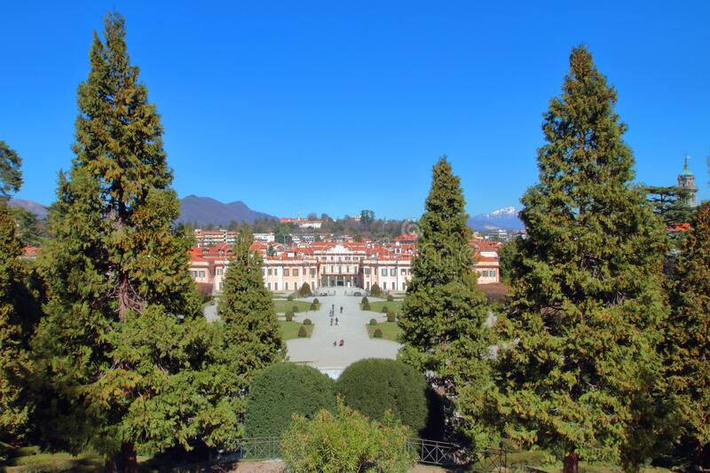 PARK OF ESTENSE PALACE IN VARESE CITY IN ITALY. LOMBARDY royalty free stock image