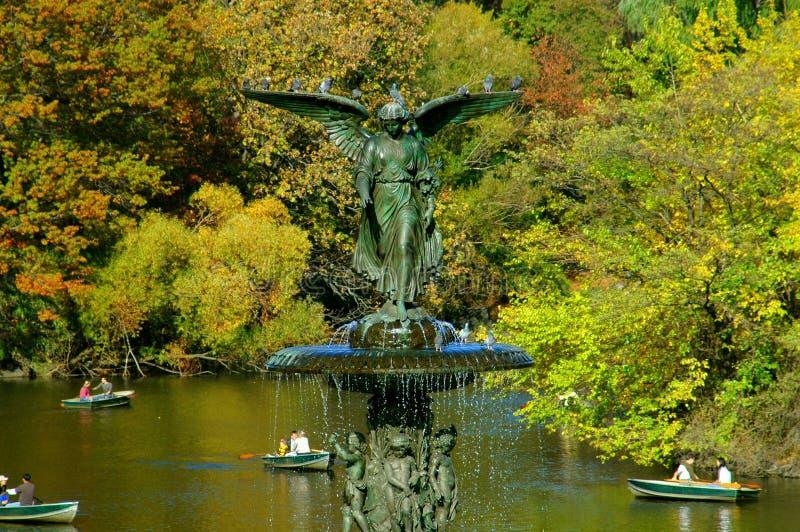 park för bethesda central springbrunnnyc fotografering för bildbyråer