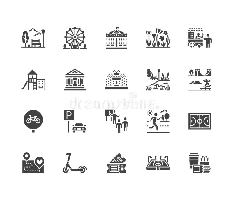 Park flat glyph icons set. Botanical garden, carousel, ferris wheel, museum, excursion, pond, street food, fountain. Vector illustrations. Signs for outdoors royalty free illustration