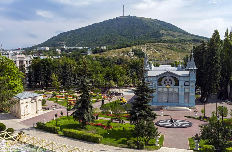 Park `Flower-garden` - one of the most beautiful and favorite places of the resort of Pyatigorsk. On Northern Caucasus in Russia, founded in 1828 stock photo