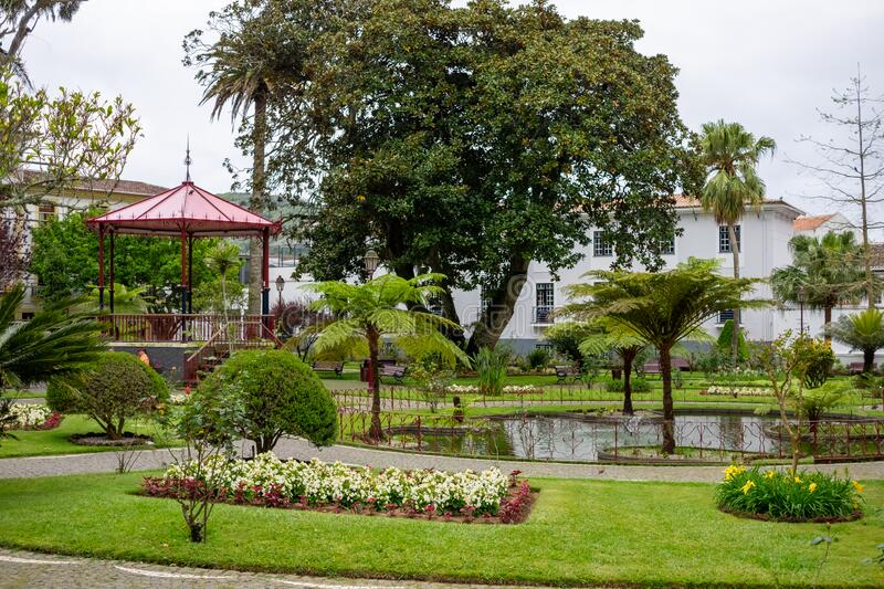 Park with flowers,trees and a kiosk in Angra do Heroismo, Terceira island. Azores stock image