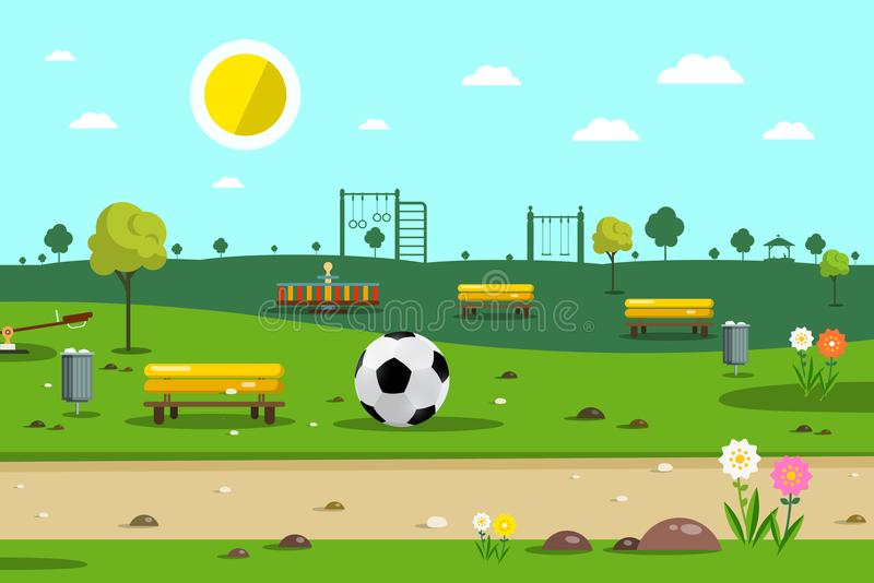 Download Park with Football Ball stock vector. Illustration of grass - 116742587