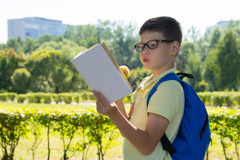 In the park, in the fresh air, the boy enthusiastically reads a book and eats an apple royalty free stock image