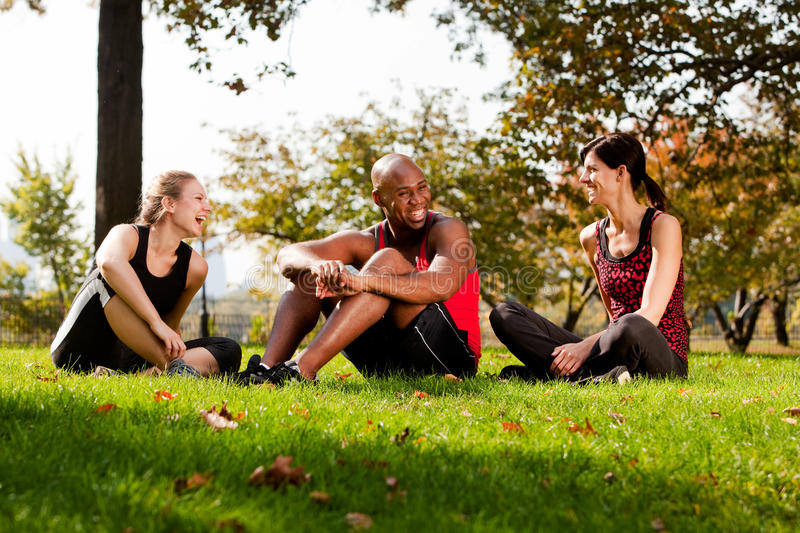 Park Friends. A group of people relaxing in the park after exercise stock images