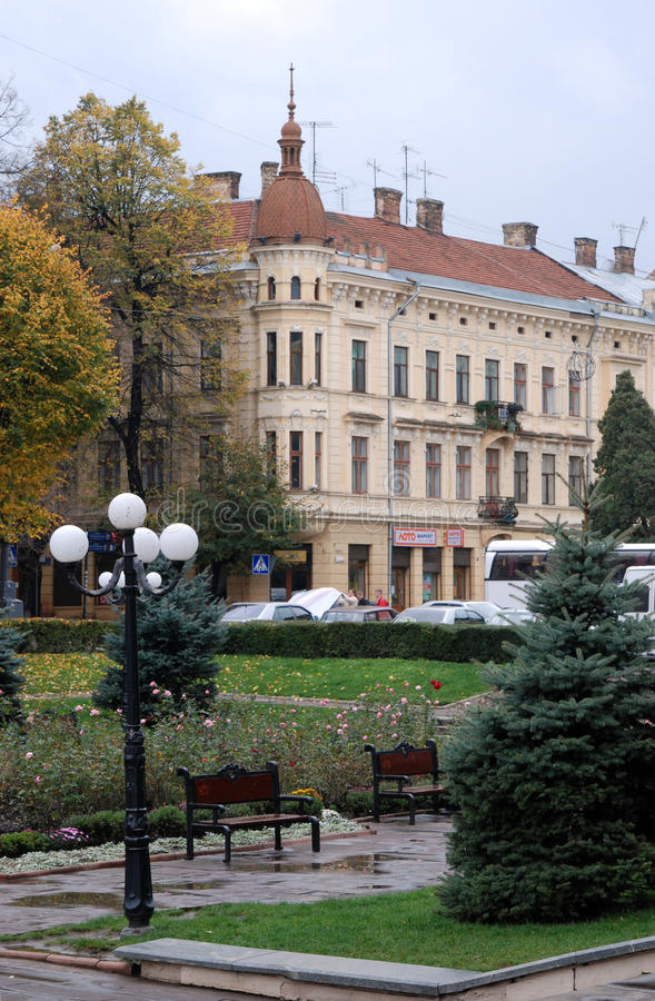 Park in front of the Opera House. In Chernivtsi royalty free stock photo