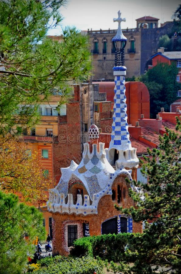 Park Güell, one of the Gaudi's iconic work. stock photography