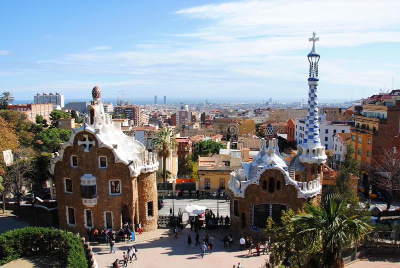 Park Güell, one of the Gaudi's iconic work. royalty free stock photos