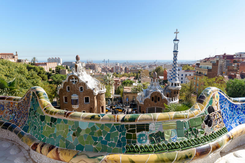 Park Güell. The Park Güell is a public park system composed of gardens and architectonic elements located on Carmel Hill, in Barcelona, Catalonia. Carmel royalty free stock photo