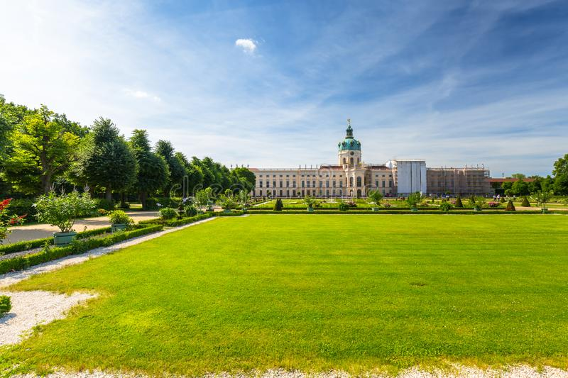 The park and gardens of Charlottenburg in Berlin, Germany. Palace, castle, architecture, europe, old, facade, travel, building, landmark, tower, famous royalty free stock images