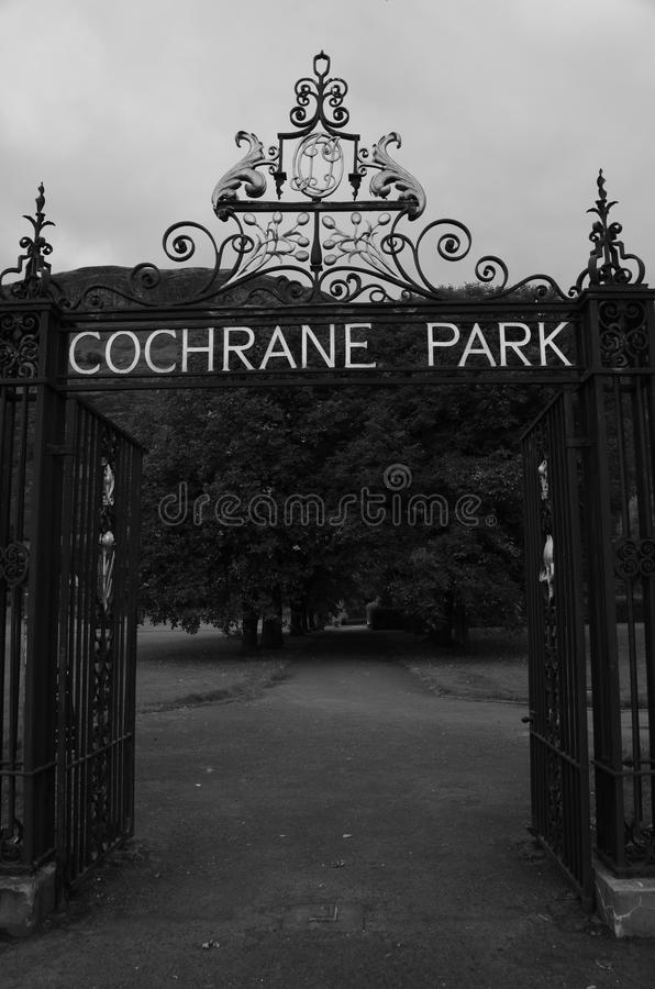 Park Gate. A view of the entrance gate to a park in Alva stock image