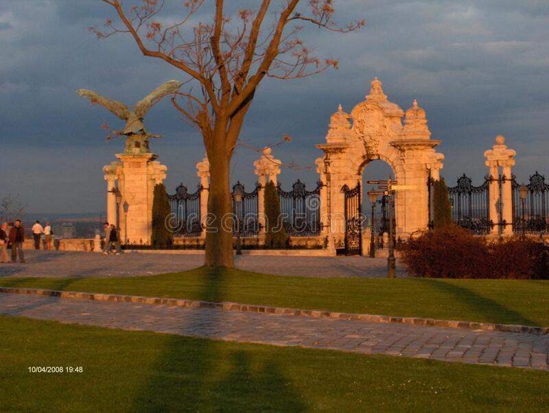 Park and gates at sunset stock photography
