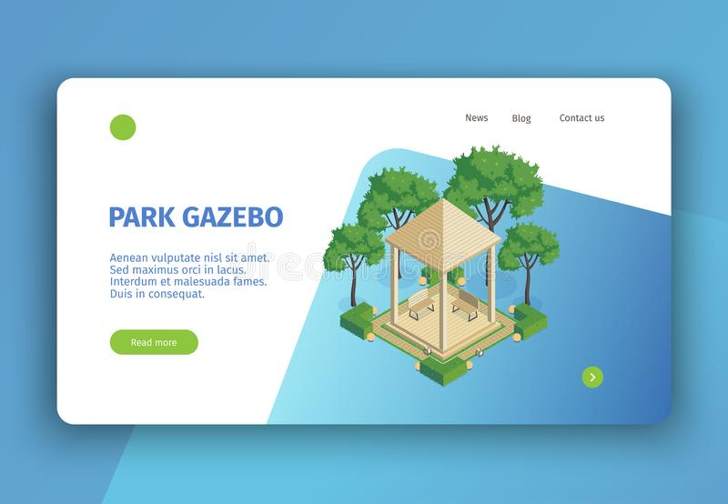 Park Gazebo Landing Page stock illustration
