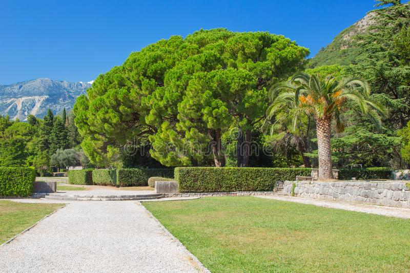 Park green area with a path of rubble and a lush variety of vegetation and mountains in the background stock photos