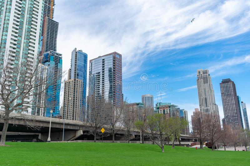 Chicago Park near the Lakefront Trail with Skyscrapers in Streeterville and Lakeshore East royalty free stock photo