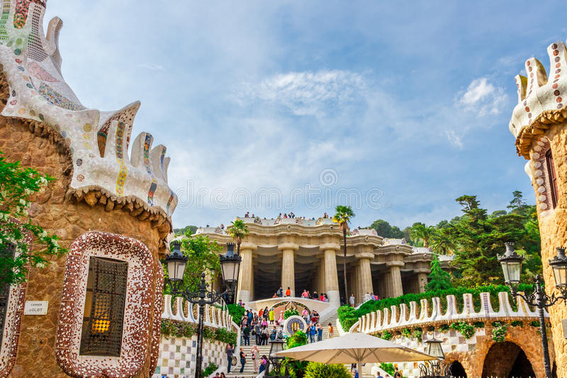 Park Guell by architect Antoni Gaudi in Barcelona royalty free stock photos
