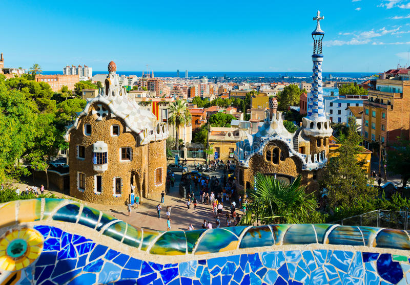 Download Park Guell in Barcelona stock image. Image of building - 27269079