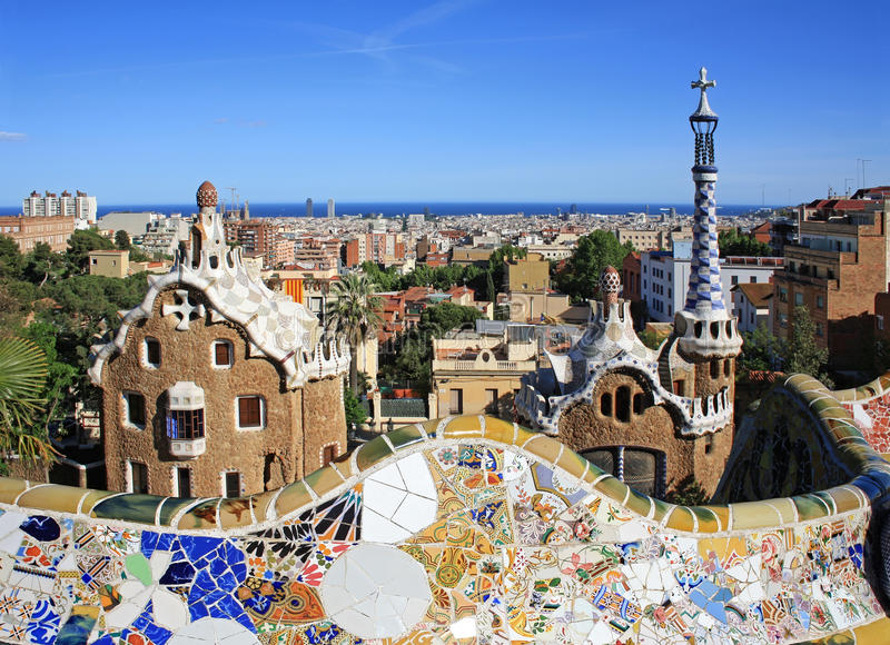 Park Guell in Barcelona stock foto