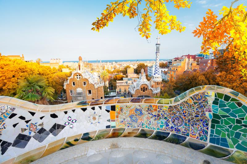 Park Guell, Barcelona stock afbeelding
