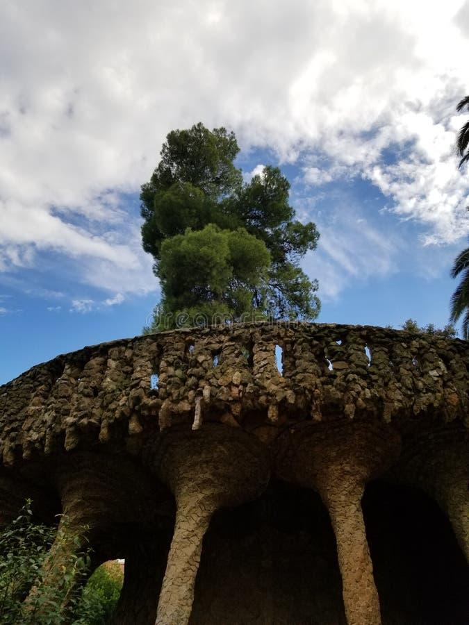 Park Guell Barcelona - overweldigende meningen! royalty-vrije stock foto's