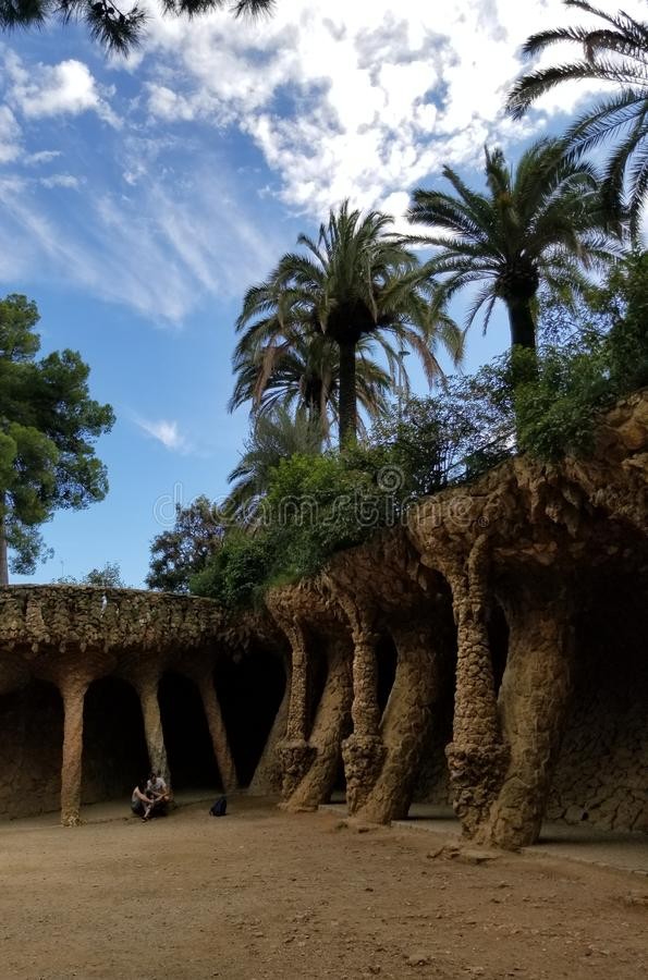 Park Guell Barcelona - overweldigende meningen! stock foto