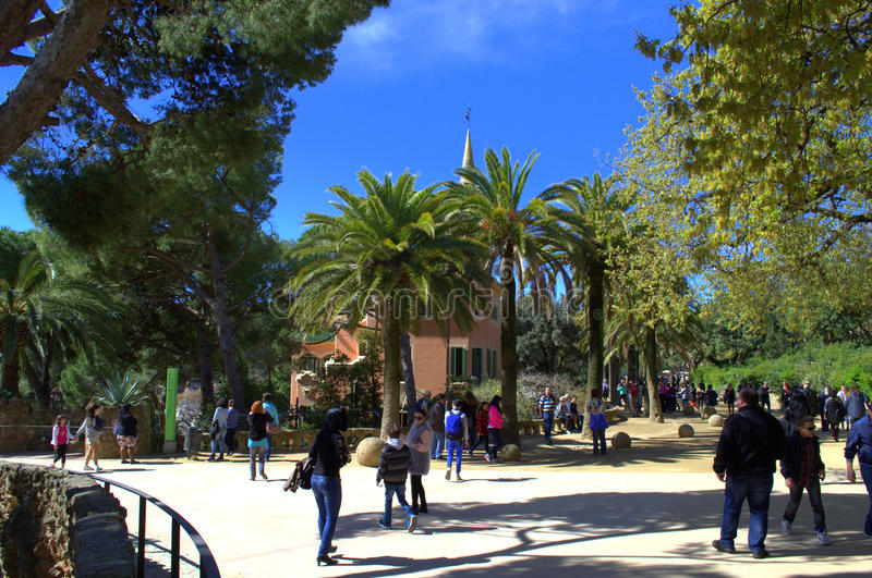 Park Guell,Barcelona. People sightseeing in picturesque Park Guell,The Park Güell is a public park system composed of gardens and architectonic elements royalty free stock photos