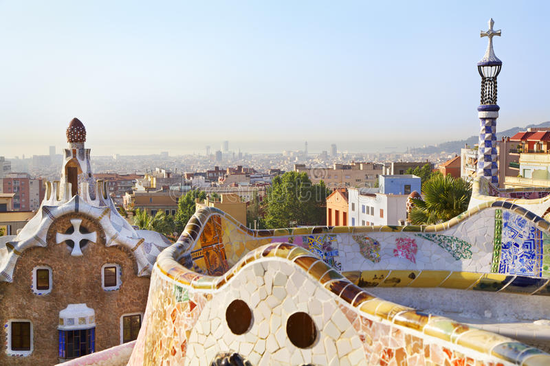 Park Guell and Barcelona skyline, Spain. Park Guell in Barcelona. In 1984 park has been declared UNESCO by the World heritage royalty free stock image