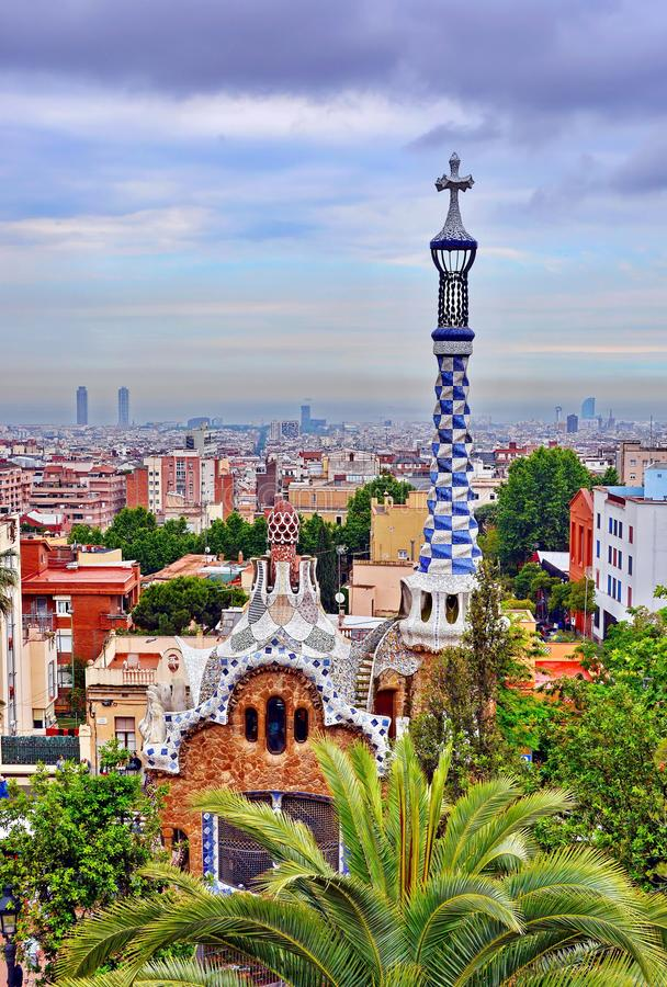 Park Guell in Barcelona, Spain. Building in Park Guell, Barcelona Spain
