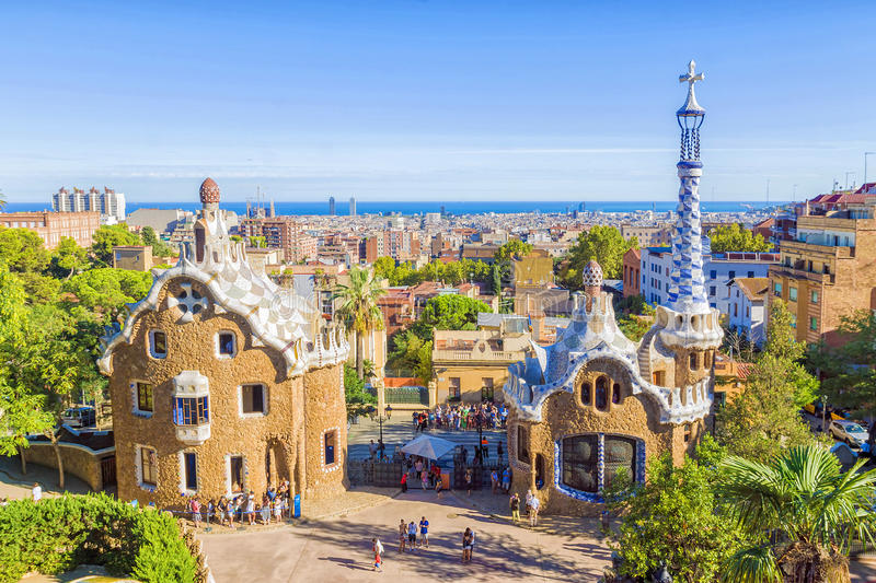 Park Guell in Barcelona, Spain. Park Guell in Barcelona in a sunny day, Spain royalty free stock image