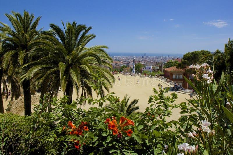 Park Guell in Barcelona, Spanje stock afbeeldingen