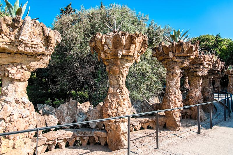 Park guell columns in Barcelona in Spain. stock photo