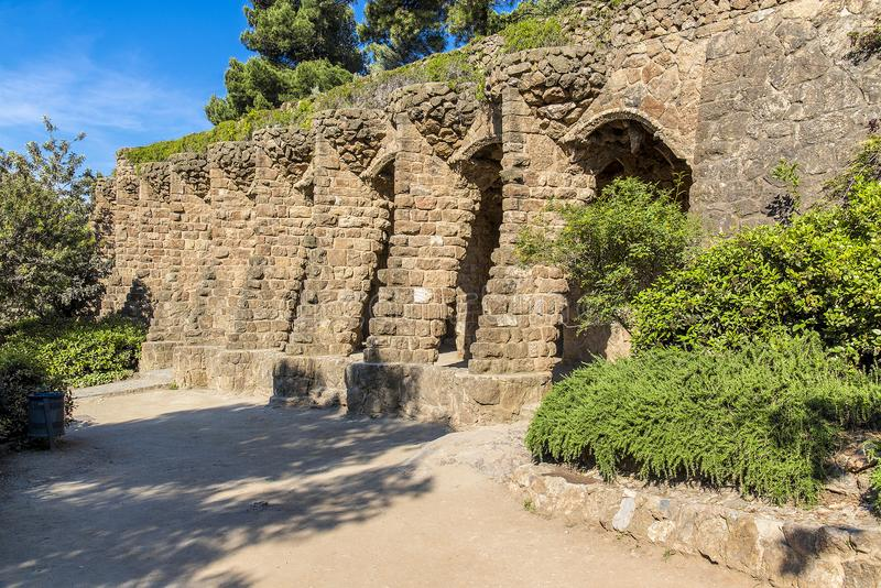 Park guell columns and viaducts, Barcelona, Spain - May 16, 2018. royalty free stock image