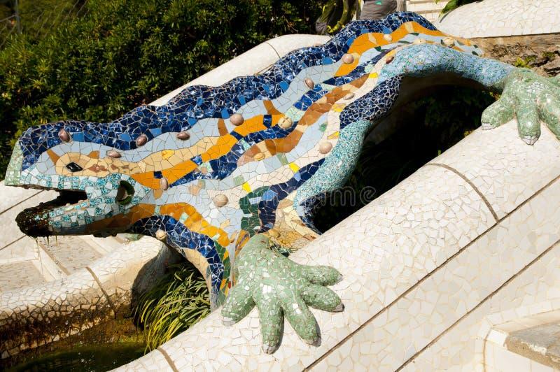 Park Guell-Eidechse - Barcelona - Spanien stockfoto