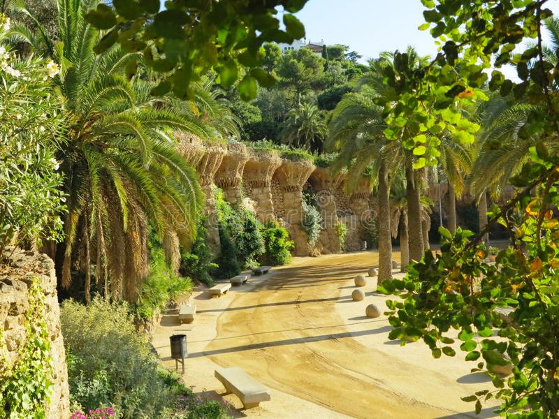 Park Guell. The Park Güell is a public park system composed of gardens and architectonic elements located on Carmel Hill, in Barcelona, Catalonia royalty free stock photography