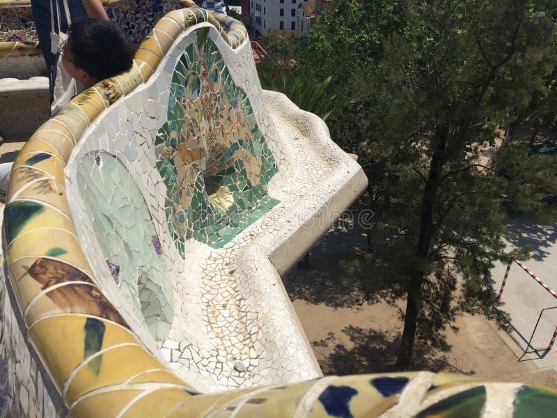Park Guell-Mosaiken lizenzfreie stockfotos