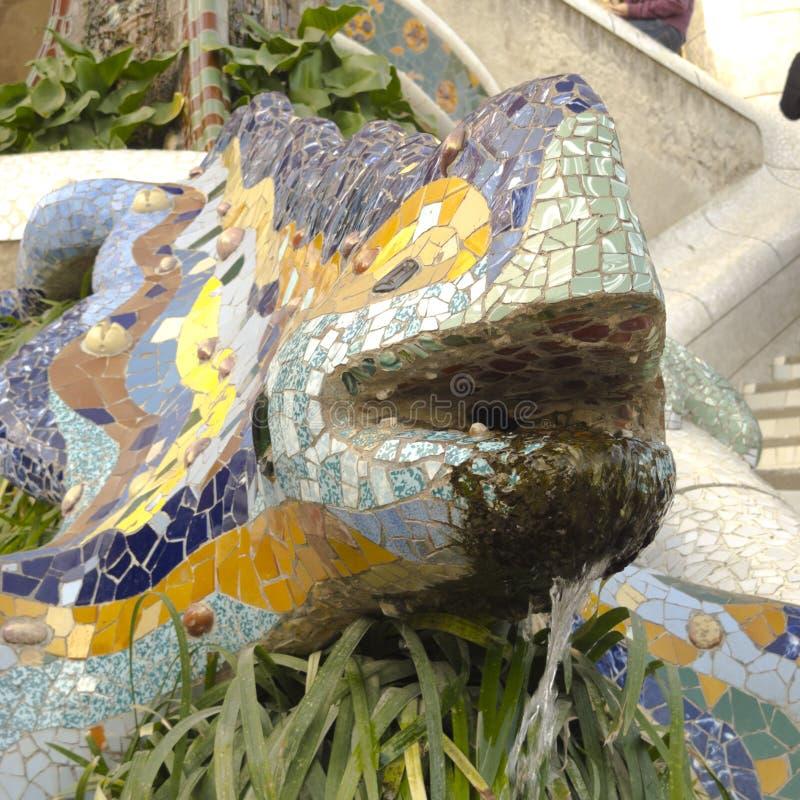 Dragon by Park Guell. Barcelona. stock photos