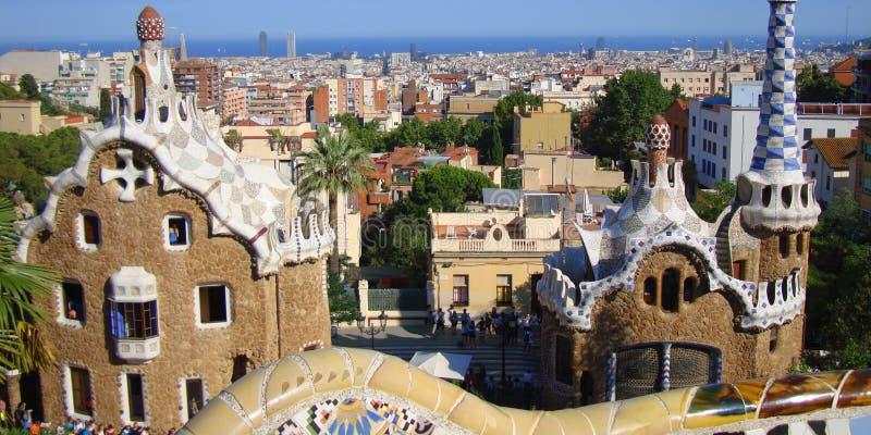 Park Guello, Barcelona, kleine huizen van sprookje stock afbeelding