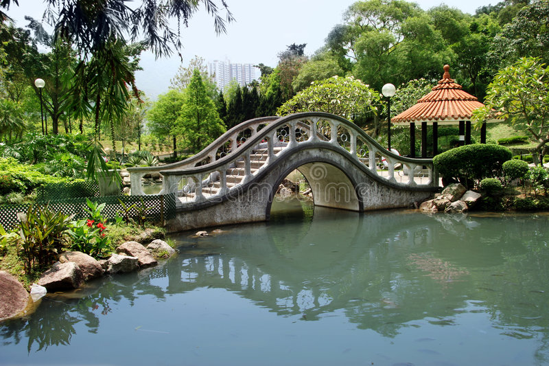 Park in Hong Kong. Park with a bridge in Hong Kong (horizontal