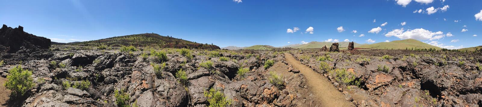 Panorama of Craters of the Moon National Monument royalty free stock photos