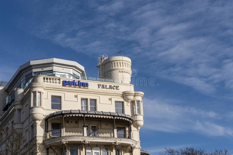 Park Inn, Radisson, Palace Hotel, Eastern Esplanade, Southend on Sea, Essex. Formerly Metropole. Seafront hotel in blue sky. Turret. Balconies stock photos