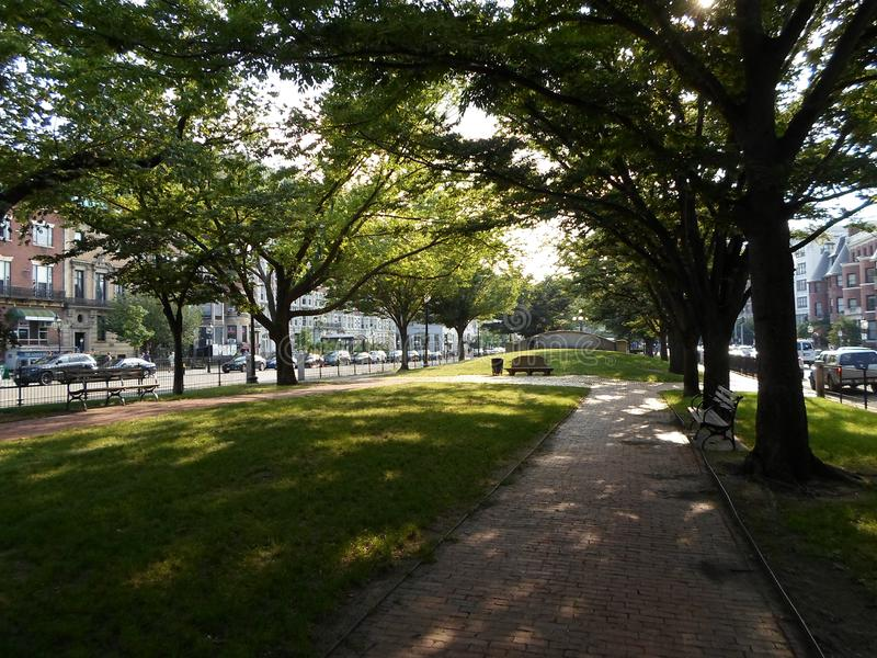 Park in Kenmore Square, Boston, Massachusetts, USA. Park in Kenmore Square in Boston, Massachusetts, United States, in the intersection of several main avenues stock photography