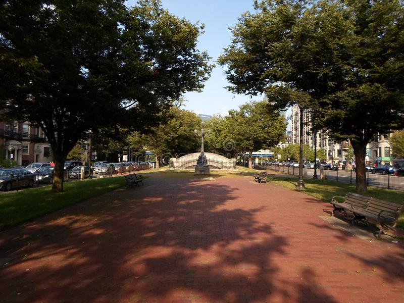 Park in Kenmore Square, Boston, Massachusetts, USA. Park in Kenmore Square in Boston, Massachusetts, United States, in the intersection of several main avenues stock photo