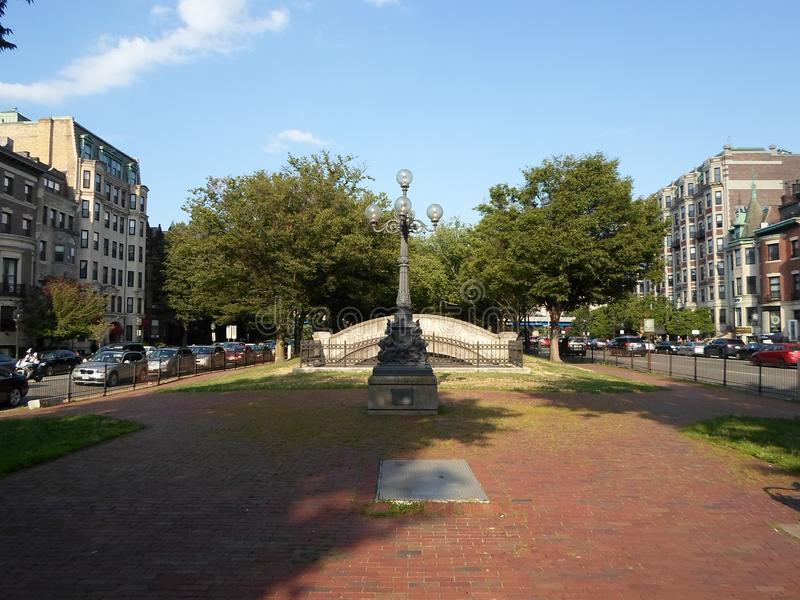 Park in Kenmore Square, Boston, Massachusetts, USA. Park in Kenmore Square in Boston, Massachusetts, United States, in the intersection of several main avenues royalty free stock photos