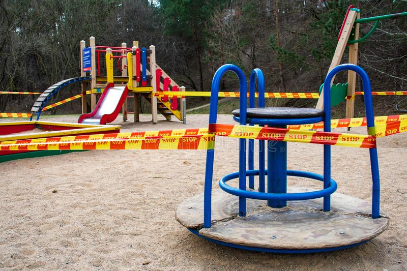 Playground For Game And Activity Empty And Closed For Coronavirus Or Covid19 Stock Photo - Image of covid, play ...