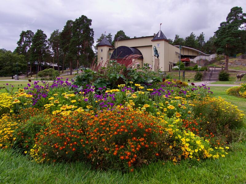 Park in Kristianhamn in Swedewn stock image