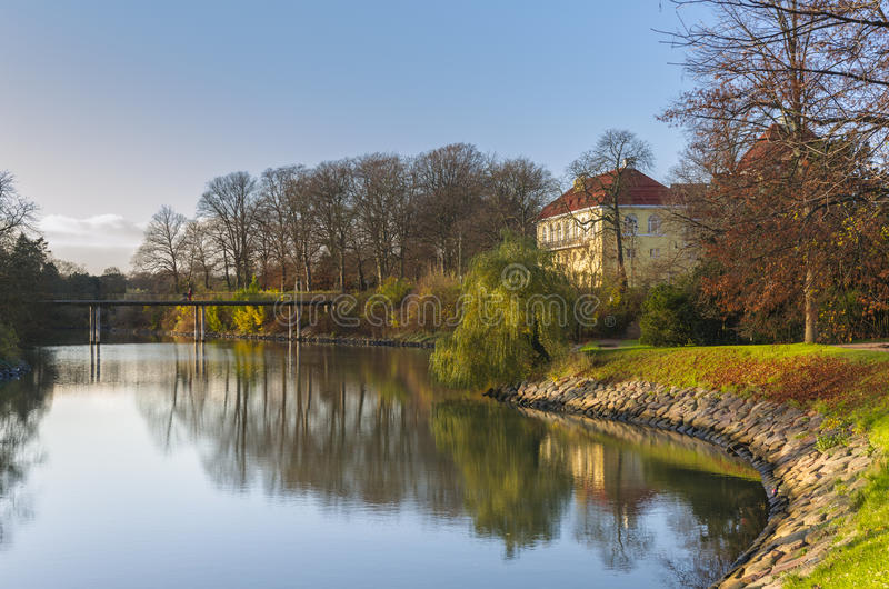Park lake in autumn stock photography