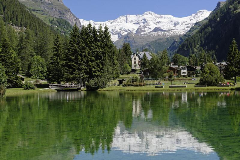 Gressoney, Aosta Valley, and Monte Rosa group royalty free stock images
