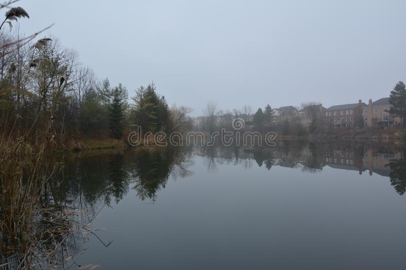 Park and lake in Richmond Hill in Toronto in Canada in the morning in the winter. Park and lake in Richmond Hill in Toronto in Canada in the morning in the stock photos