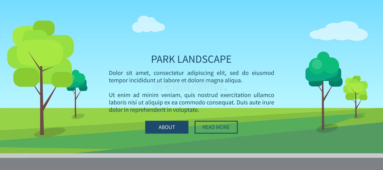 Park Landscape Web Banner with Green Lawn Vector. Park landscape web banner with green lawn and trees vector illustration in flat design cartoon style. Outdoors stock illustration