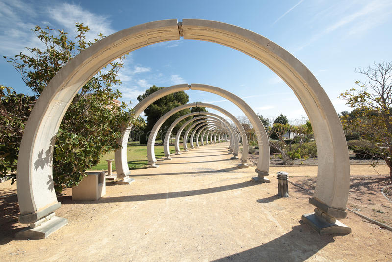 Park Lo Torrent de San Vicente Del Raspeig. San Vicente del Raspeig, Spain. April 12, 2016: concrete arches in the Park Lo Torrent stock image